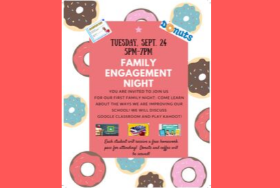 Family Engagement Night- Sept. 24  (5-7pm)